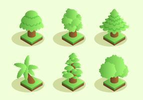 isometrisk träd clipart set vektor