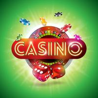 Casino Illustration med glänsande neonljusbrev och roulettehjul på grön bakgrund. Vektor gambling design för inbjudan eller promo banner med tärningar.