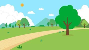 Naturlandschaft mit Straßenvektorillustration.Feld mit Berg, Bäumen, Sonne, Himmel und Wolken.grüner Park mit natürlicher Szene.Cartoon ländlicher Landschaftssommer. vektor