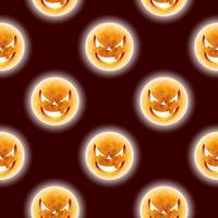 Halloween sömlösa mönster illustration med måne läskiga ansikten på mörk bakgrund.