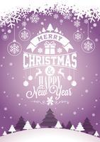 Vector frohe Weihnacht-Feiertags- und guten Rutsch ins Neue Jahr-Illustration mit typografischem Design und Schneeflocken auf Winterlandschaftshintergrund.