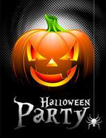 Vektor Halloween Party Bakgrund med Pumpa.