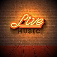Live musik neon skylt med 3d skylt brev på tegel vägg bakgrund. Designmall för dekoration, omslag, reklamfilm eller reklamfilm.