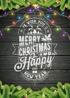 God jul och gott nytt år Illustration på Vintage Wood Background med typografi och Holiday Elements, Vector EPS 10 design.