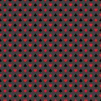 Vector nahtlose Kasinomusterillustration mit Spielkartensymbolen auf grauem Hintergrund.