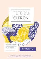 Zitronenfestival-Vektor-Design Menton Frankreich