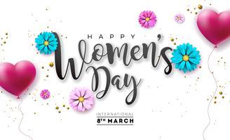 Glad kvinna dag blomning hälsningskort. Internationella semesterillustrationen