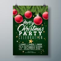 Vektor-Weihnachtsfest-Flieger-Design mit Feiertags-Typografie-Elementen und dekorativem Ball, Kiefernniederlassung auf dunkelgrünem Hintergrund.