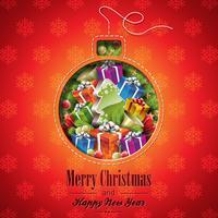 Vektor jul illustration med abstrakt kula design och semesterelement