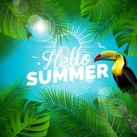 Vektor Hello Summer Holiday typografisk illustration med toucan fågel och tropiska växter på blå bakgrund. Designmall med grönt palmblad för banner