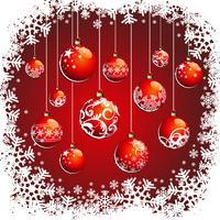Weihnachtsabbildung mit roten Bällen und Schneeflocken vektor