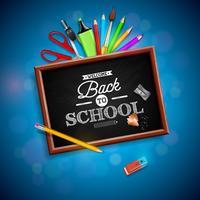 Zurück zu Schuldesign mit buntem Bleistift, Radiergummi und anderen Schulartikeln auf blauem Hintergrund. Vektorillustration mit Tafel- und Typografiebeschriftung