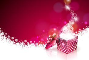 Weihnachtsillustration auf glänzendem rotem Hintergrund mit magischer Geschenkbox. Vector Holiday Design für erstklassige Grußkarte, Party-Einladung oder Promo-Banner.