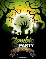 Vektor illustration på ett Halloween Zombie Party tema på grön bakgrund.