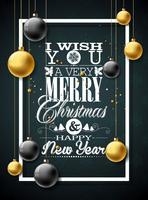 Vector Weihnachtsillustration mit Typografie- und Goldglaskugeln auf hölzernem Hintergrund der Weinlese. Vektor Urlaub Illustration.