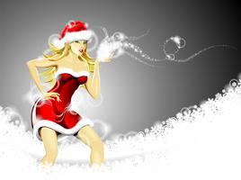 Julillustration med vacker sexig tjej som bär kläder från Santa Claus
