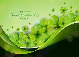 St. Patricks Day Background Design mit grünem Kleeblatt. Irische glückliche Feiertags-Vektor-Illustration für Grußkarte, Party Einladung oder Promo-Fahne.