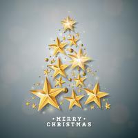 Vektor jul och nyår illustration med julgran gjord av cutout papper stjärnor på ren bakgrund. Semesterdesign för gratulationskort, affisch, banner.