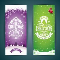 Vector Grußkartenillustration der frohen Weihnachten und des guten Rutsch ins Neue Jahr