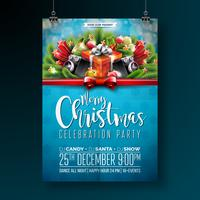 Vektor-fröhliches Weihnachtsfestdesign mit Feiertagstypographieelementen und -sprechern auf glänzendem Hintergrund. Feier Fliyer Illustration. EPS 10.