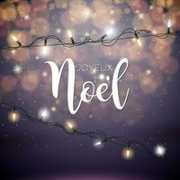 Vektor jul illustration med franska Joyeux Noel Typografi och Holiday Light Garland på blanka röda bakgrund.