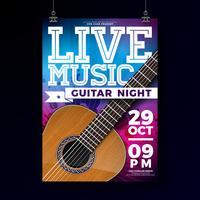 Live musik flyger design med akustisk gitarr på grunge bakgrund. Vektor illustration mall för inbjudan affisch, reklam banner, broschyr eller hälsningskort.