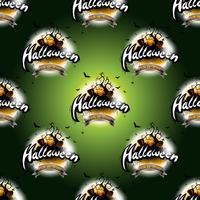 Glad Halloween sömlösa mönster illustration med måne och pumpa på mörkgrön bakgrund.