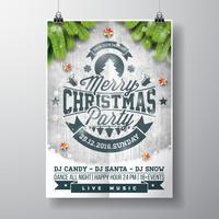 Vektor-fröhliches Weihnachtsfestdesign mit Feiertagstypographieelementen und glänzenden Sternen auf hölzernem Hintergrund der Weinlese.