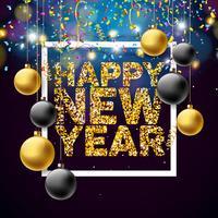 Vektor Gott nytt år 2018 Illustration med glänsande Golden Glittered Typography Design och prydnadsbollar på konfetti bakgrund. EPS 10.