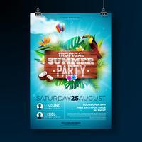 Vector Summer Beach Party Flyer Design med typografiska element på trästruktur bakgrund. Sommar natur blommiga element, tropiska växter, blomma, toucan fågel och luftballong