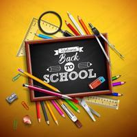 Tillbaka till skoldesign med färgstark penna, gummi och andra skolartiklar på gul bakgrund. Vektor illustration med förstoringsglas, tavla och typografi bokstäver