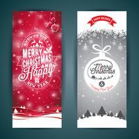 Vektor Glad jul och gott nytt år hälsningskort illustration med typografisk design och snöflingor på vinterlandskapsbakgrund.