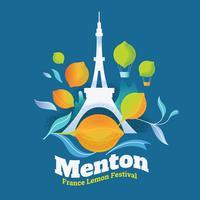 Illustration av citronfestival (Fete du Citron) i Menton Town på franska rivieran