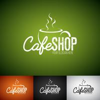 Coffe Cup-Vektor Logo Design Template. Satz der Cofe-Shopaufkleberillustration mit verschiedener Farbe. vektor