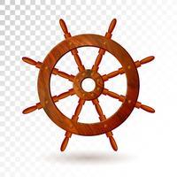 Schiffslenkrad lokalisiert auf transparentem Hintergrund. Ausführliche vektorabbildung für Ihre Auslegung.
