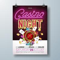 Vector Kasinonachtfliegerillustration mit spielenden Gestaltungselementen und glänzender Neonlichtbeschriftung auf Backsteinmauerhintergrund. Leuchtschild, Rouletterad