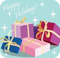 süße weihnachtskarte mit einem bild von boxen mit geschenken. Frohe Feiertage-Schriftzug. vektor