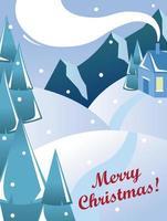 schöne Weihnachtskarte. Bild einer Winterlandschaft. vektor