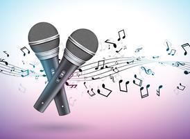 Vektor banner illustration på ett musikaliskt tema med mikrofoner och fallande anteckningar på violett bakgrund. Designmall för banderoll, affisch eller hälsningskort.