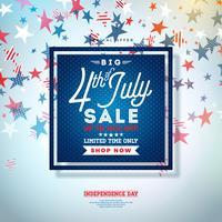 Fjärde juli. Independence Day Sale Banner Design med Falling Stars Bakgrund. USA National Holiday Vector Illustration med specialtyp Typografi Elements for Coupon