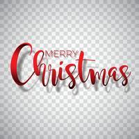 Frohe Weihnacht-Typografieillustration auf einem transparenten Hintergrund. Vector Logo, Embleme, Textdesign für Grußkarten, Fahne, Geschenke, Plakat.