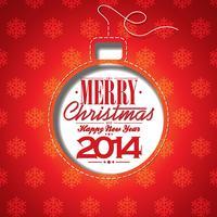 Vektor jul illustration med abstrakt boll och typografiska