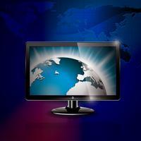 Vektorteknologi stylad illustration med glänsande världsbild