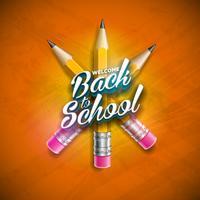 Tillbaka till skoldesign med grafitpenna och bokstäver på orange bakgrund. Vektor illustration med skolobjekt för hälsningskort, banner, flygblad, inbjudan, broschyr eller PR-affisch.