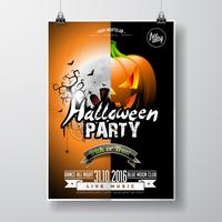 Vektor Halloween parti Flygdesign med typografiska element och pumpa på orange bakgrund.