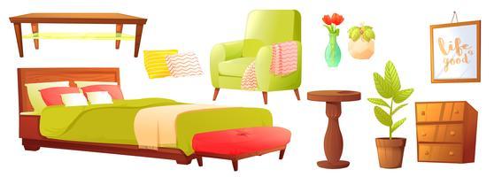 Wohn- oder Schlafzimmerobjekt mit Ledersofa und Holzregal