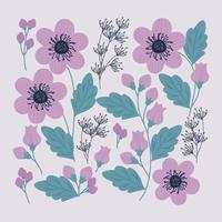 Vektor blomma Clipart Set