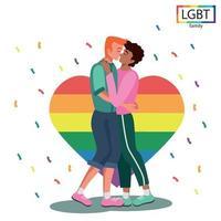 LGBT-Familie zwei Männer küssen sich leidenschaftlich - Vektor