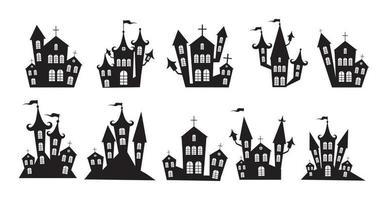 Auswahl an düsteren Burgen Halloween auf weißem Hintergrund - Vektor