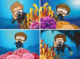 Scener med dykare i havet vektor